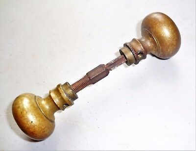 Pair of Antique Vintage Solid Brass Door Knobs w/ Spindle Architectural Salvage