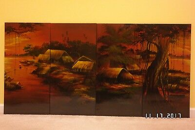 """Vietnamese Lacquer Painting """" Canh Dong Que """" 4 Panels ."""