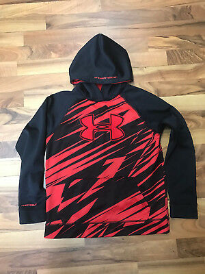 Under Armour Hoodie Sweatshirt Boys Large Red & Black Storm Guc ~ Free Shipping