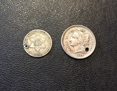 **1853 Silver 3 Cent & 1865 3 Cent (both Necklace Pieces)**