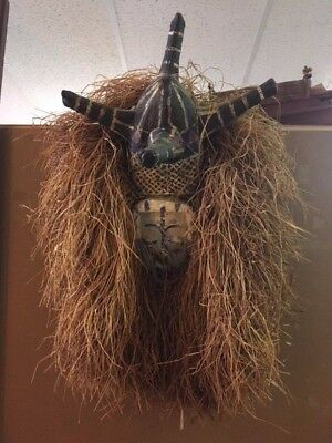 Authentic African Tribal Fine Art Yaka Tribe Zaire Headdress Mask Sculpture RARE