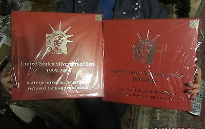 2016-1999 silver proof set--RED, STORAGE BOX-(QTY of 2)-plus FREE Coin Coll KIT
