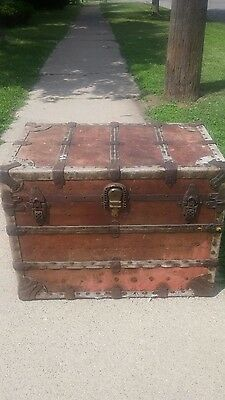 steamer trunk year 1892 farm fresh could be used as coffee table bed chest. Etc.