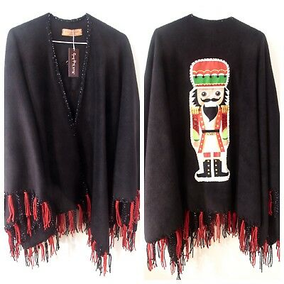THE NUTCRACKER .. HOLIDAY SPECIAL EMBROIDERED  fleece RUANA FRINGE WRAP ONLY 1