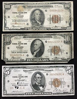 Junk lot (3 notes) $115 Face 1929 Brown Seal $5, $10, $100 FRBN Notes! FREE SHIP