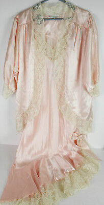 Vtg Intimate Nightgown Peignoir Pink Silk Lace Negligee San Francisco NWT
