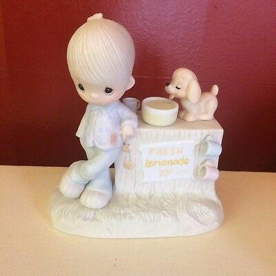 Precious Moments Figurine Thank You For Coming to My Ade Enesco E-5202 1980