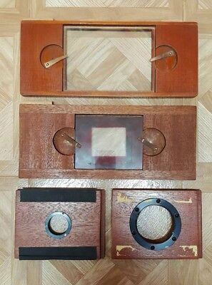 Lot of 4 Vintage Camera Lens Boards Wood Photography Equipment