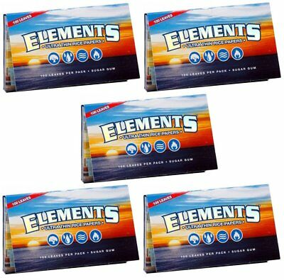 5 Pack Elements Ultra Thin Rice Single Wide Cigarette Paper 2500 Leaves 8311-5
