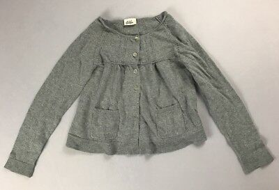 MINI BODEN GIRLS Gray Long Sleeve Button Front Cardigan Front Pockets Size 9-10