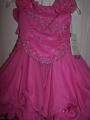 NWT Girls PERFECT ANGEL 1188 Pageant Dance Dress Gown Pink Lipstick 6T