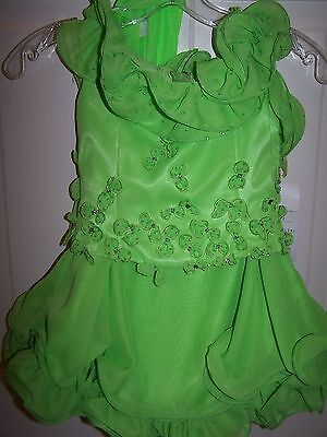 NWT Girls PERFECT ANGEL Pageant Dress Gown 1187 Ice Lime Size 3T with Scarf
