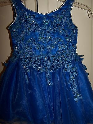 Girls UNIQUE FASHIONS Special Occasion Pageant Dance Dress UF258 Royal Blue 2T