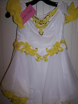 NWT Girls PERFECT ANGEL Pageant Dress Gown 1186 White Yellow 6T