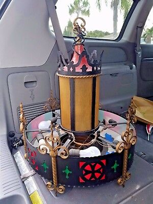 Antique Wrought Iron Church chandelier Our Lady of Lourdes R.C. Malverne NY