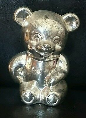 Vintage silver plated teddy bear money box piggy bank