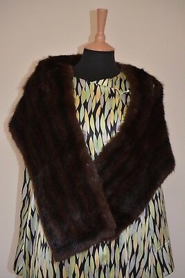 Mink large Stole wrap cape vintage brown real fur occasion party everyday