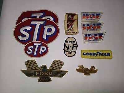 Vintage Lot of 9 NASCAR Car Racing Cloth Embroidered Patches from Sponsors STP