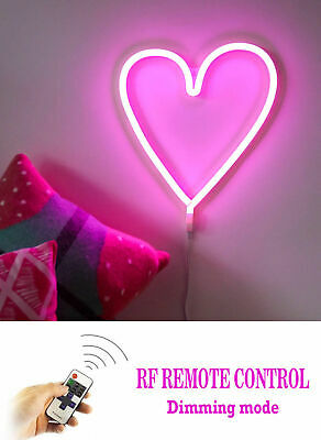 Neon Pink Led Light Love Heart Kids Girls Bedroom Night Dimmable Remote Wall