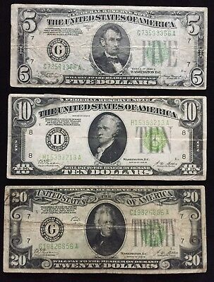 Bargain (3 notes) $35 Face Value 1928 B $10, 1928 B $20, 1934 A $5 Fed. Reserve!