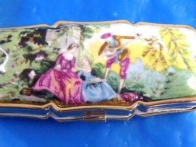 Vintage Hand Painted English Courting Scene On Porcelain Pill Box