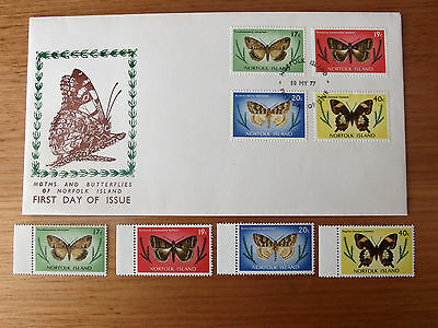 1977 - Norfolk Is -  Butterflies And Moths - 17c,19c,20c,40c MNH stamps + FDC