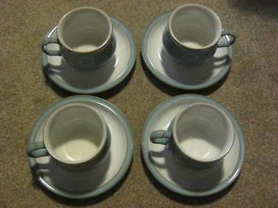 Denby Colonial Blue Tea Cups and Saucers x 4