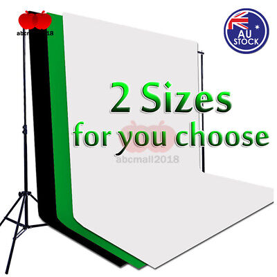 Photography Green/White/Black 2 Sizes Non Woven Backdrop Background Stand Kit AU