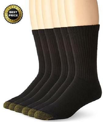 6 Pairs Gold Toe Mens Soft Cotton Standard Crew Athletic Sport Socks Black 10-13