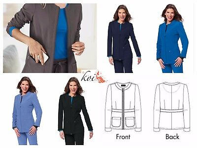 New Clearance Koi Sapphire Women's Deja Round Neck Zip Front Scrub Jacket #427