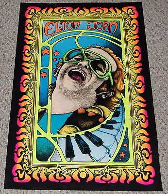 ELTON JOHN Collage Flocked Blacklight Poster 1976 Pro Arts Sir Elton Piano Man