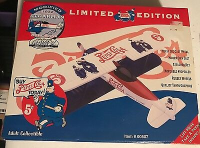 Gearbox Limited Edition Pepsi Modified 1932 Stearman Plane Coin Bank *NEW*