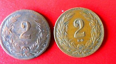 Lot of 2 COINS  -  Hungary  2 Filler, 1899 & 1909