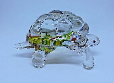 Vintage Small Decorative Clear Glass Turtle Figurine w/Various Colors on Bottom