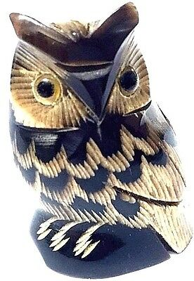 Owl Bird Figurine Sculpture Handcraft Buffalo Horn Home decor collectible Gift