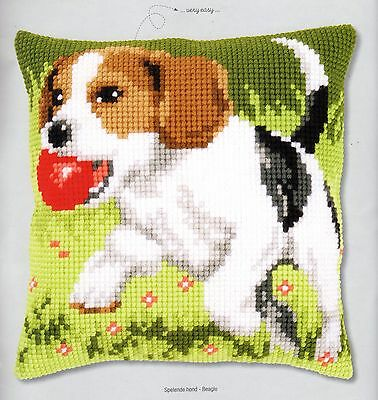 Beagle With Ball Tapestry Canvas Cross Stitch Cushion Front Kit Vervaco
