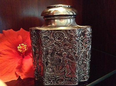 ANTIQUE E. G. WEBSTER TEA CADDY (REDUCE 10.) Heavy Repousee on all sides, EARLY