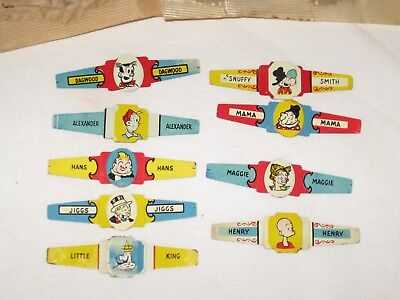 Vintage Tin Litho Toy  Rings - Little King,jiggs,snuffy Smith,ect-1949-Lot Of 9