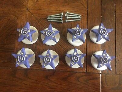 Lot of 8 Vintage Purple Silver White MCM Star Drawer Pulls W Round Backer