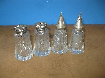 antique sterling silver lid pattern glass salt & pepper shakers 2 pair