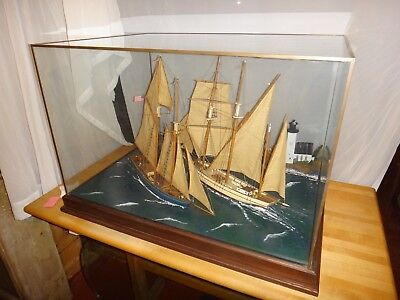 Cased Nautical Sailing Ship Model w/ Lighthouse Cottage Museum Quality Not a Kit