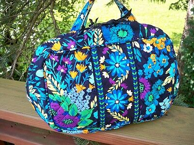 VERA BRADLEY Grand Cosmetic MakeUp Travel Bag Case Midnight Blues FREE SHIP