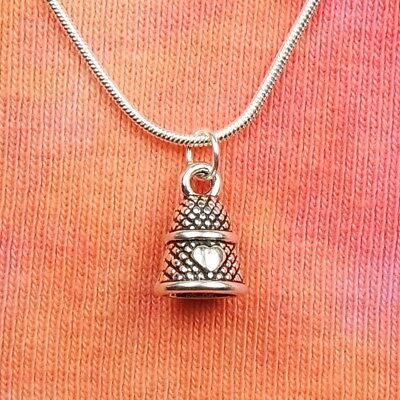 Mini Thimble Necklace, 3D Sew Sewing Seamstress Charm Pendant Gift Jewelry 16-36