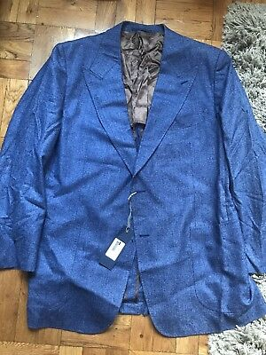 NWD SUITSUPPLY Blue Peak Lapel SILK LINEN Mens Blazer Jacket Sportcoat 60/50R