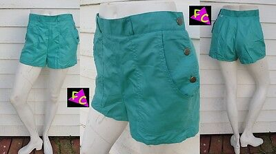 80s HIGH WAIST SIDE SNAP shorts TEAL PREPPIE NEW WAVE XS S 30 32 TINY FIT USA