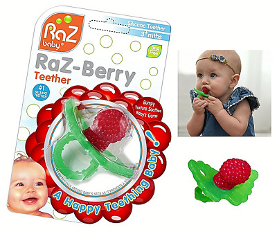 Baby Non-toxic Silicone Dummy Smoothe RazBerry Teether Gum Ring Toy BPA-free