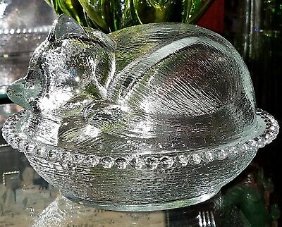 Vintage Indiana Glass Sleeping Kitten/Cat Nest Basket Covered Clear Glass Dish