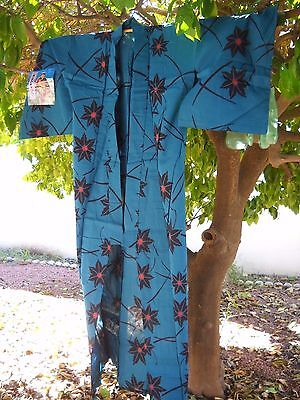 Japanese Blue Yukata Cotton Blue with Star Pattern with Soft Ties and Sash NWT