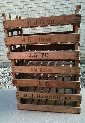 4X Rustic Wooden Farm Tray Apple Crate Potato Chitting Bushel Box Vintage