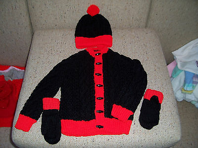New Hand  Knitted Cable Cardigan,beanie&mitts With Thumb 3-5   Years Approx